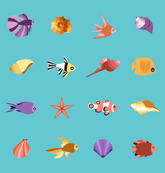 seahells and fish in isolated on blue vector image