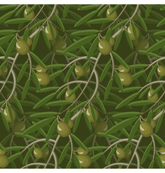 Seamless Olive Branches Pattern vector image