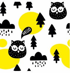 seamless pattern with cute owl birds in the vector image