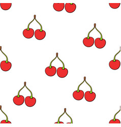 seamless pattern with twin red cherries vector image