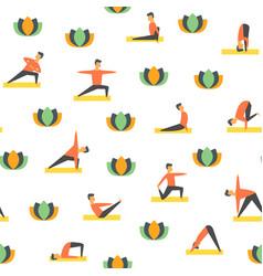 seamless yoga poses asamas pattern people vector image