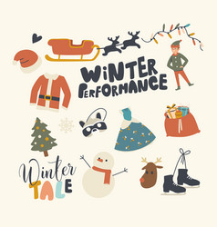set icons christmas and winter activities vector image