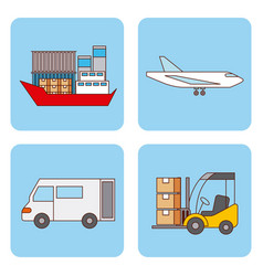 set of logistic shipping and delivery transport vector image