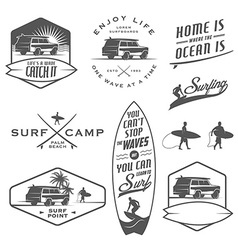set vintage surfing design elements vector image