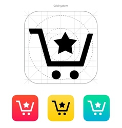 Shopping cart with favorites item icon vector