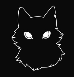 silhouette a black fluffy cat with big eyes vector image