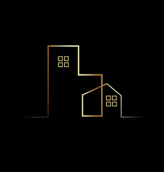 simple gold house and building logo symbol vector image