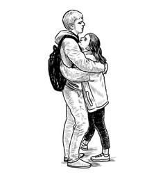 sketch a couple loving young townspeople vector image