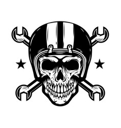 Skull in racer helmet with crossed wrenches vector