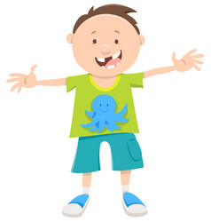 Snaggletooth boy cartoon vector
