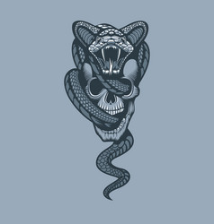 snake through skull monochrome tattoo style vector image
