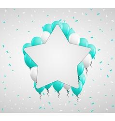 Star badge and green balloons vector