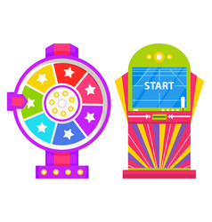 Start playing on game machine fortune wheel set vector