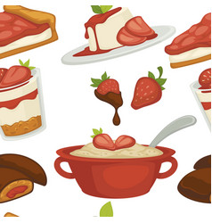 strawberry desserts jelly and pie porridge and vector image