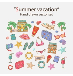 Summer vacation doodle set vector image