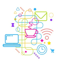 Symbols of using the Internet in a cafe on vector image