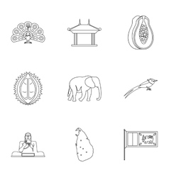 Tourism in Sri Lanka icons set outline style vector