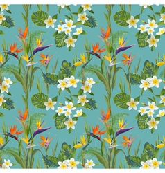 Tropical Flowers and Leaves Background vector