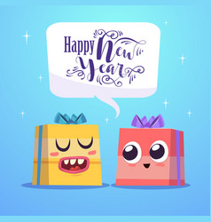 two cute gift characters cheer each other happy vector image