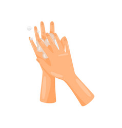 Washing between fingers with soap hygiene health vector