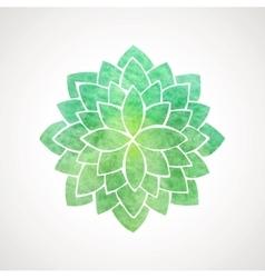 Watercolor lotus flower green color vector
