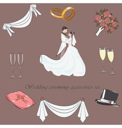 Wedding ceremony accessories set vector image