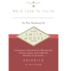 Wedding invitation red and gold ribbon theme vector image
