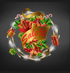 winter holidays sale 3d realistic icon vector image