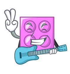 With guitar toy brick mascot cartoon vector