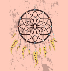 with hand drawn dream catcher feathers and beads vector image