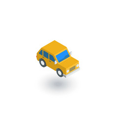 Yellow car hatchback isometric flat icon 3d vector