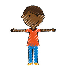 Young boy black avatar character vector