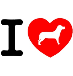 I Love My Dog Text With Red Heart vector image vector image