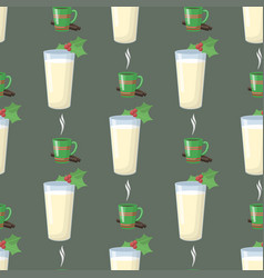 Milk glass new year drink seamless pattern vector