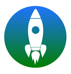 rocket sign white icon in vector image
