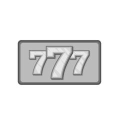 Triple lucky sevens icon black monochrome style vector image