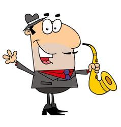 Caucasian Cartoon Saxophone Player Man vector image vector image