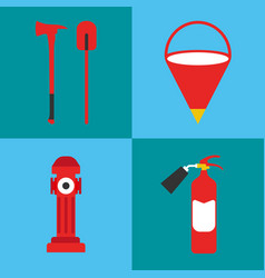 firefighter icon set fire departament equipment vector image vector image