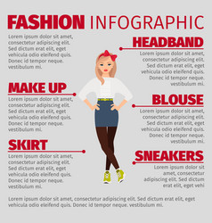 Girl in casual style fashion infographic vector