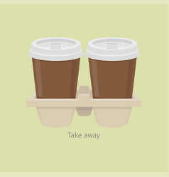 two take away paper coffee cups in carton holder vector image vector image
