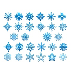 Blue snowflakes icon set vector image