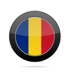 flag of romania shiny black round button vector image