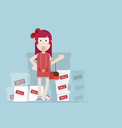 girl with shopping bag and box with sale label vector image