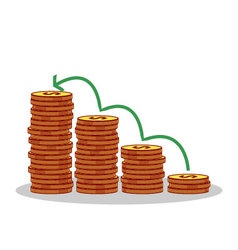 Isolated cartoon gold coin investment growth vector image vector image