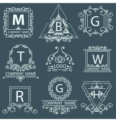 Set victorian logos ornamental corporate style vector image vector image