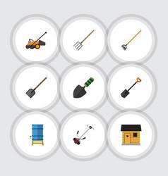 Flat icon dacha set of grass-cutter shovel vector