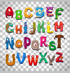monster alphabet on transparent background vector image vector image