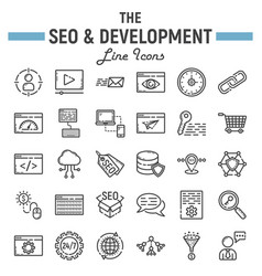 seo and development line icon set business signs vector image