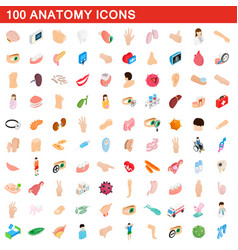 100 anatomy icons set isometric 3d style vector
