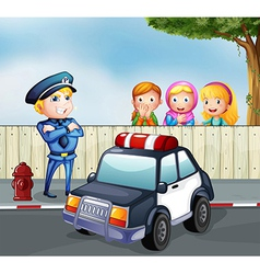 A policeman and three girls outside fence vector